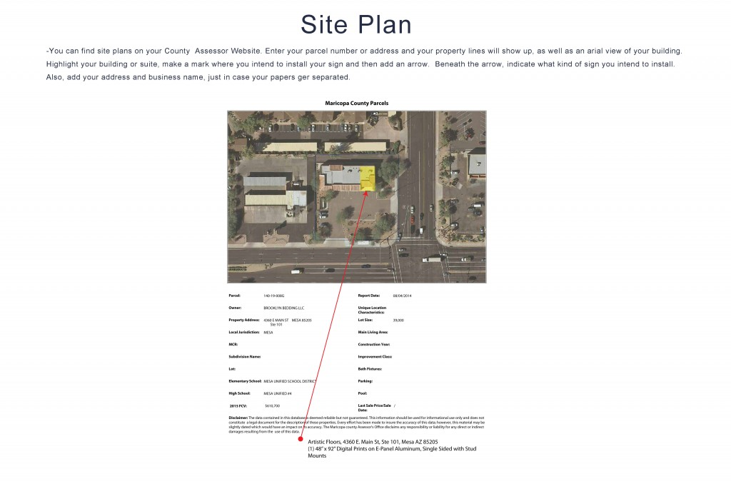Site Plan for Business Signage